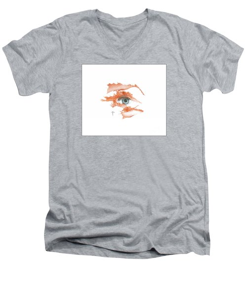 Men's V-Neck T-Shirt featuring the drawing I O'thy Self by James Lanigan Thompson MFA