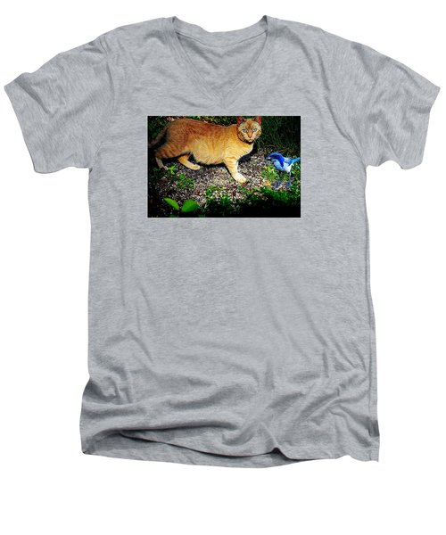 Men's V-Neck T-Shirt featuring the photograph I See A Puddy Kat by Nick Kloepping