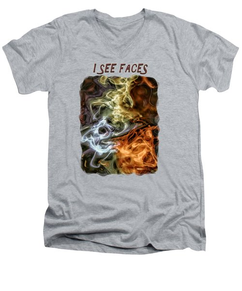 I See Faces Men's V-Neck T-Shirt