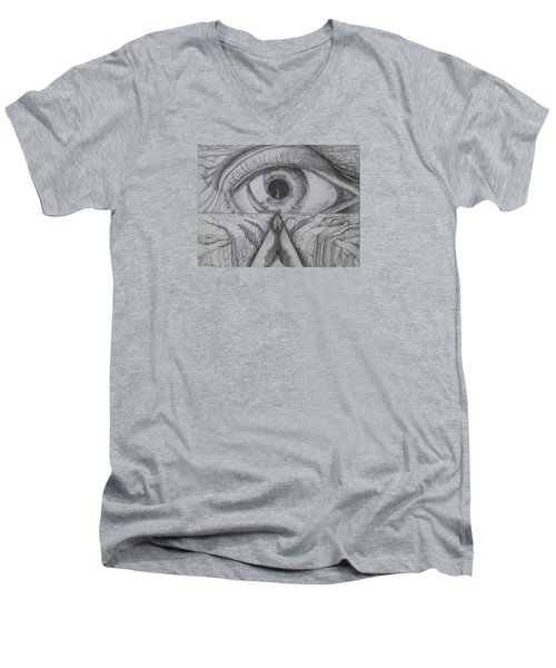 Men's V-Neck T-Shirt featuring the drawing I Shadow by Charles Bates