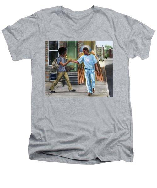 I Walk With Angels Men's V-Neck T-Shirt