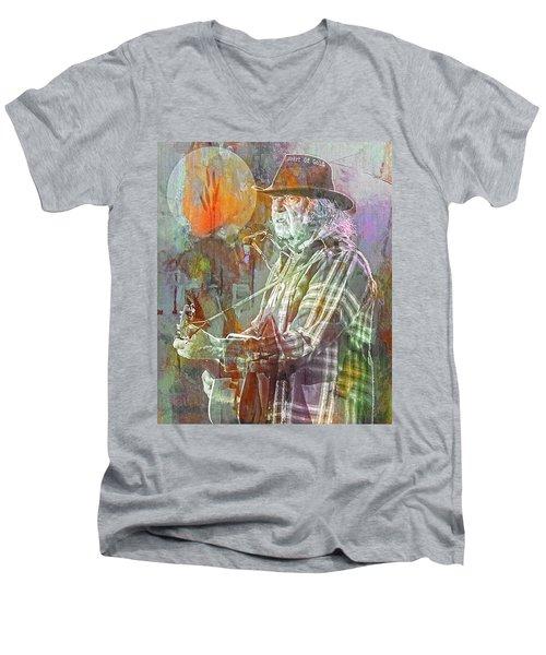 I Wanna Live, I Wanna Give Men's V-Neck T-Shirt by Mal Bray