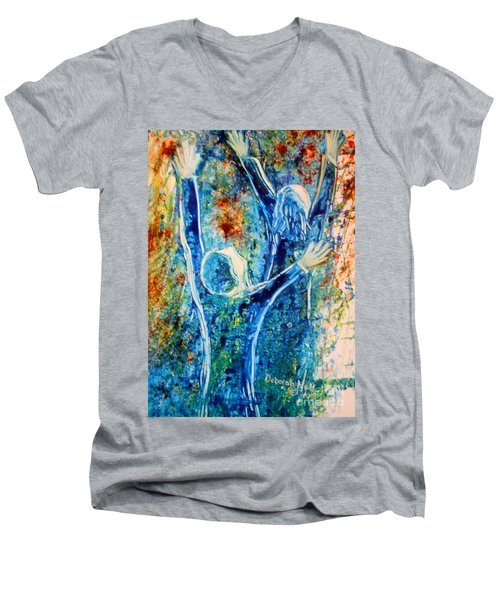 Men's V-Neck T-Shirt featuring the painting I Will Praise You In The Storm by Deborah Nell
