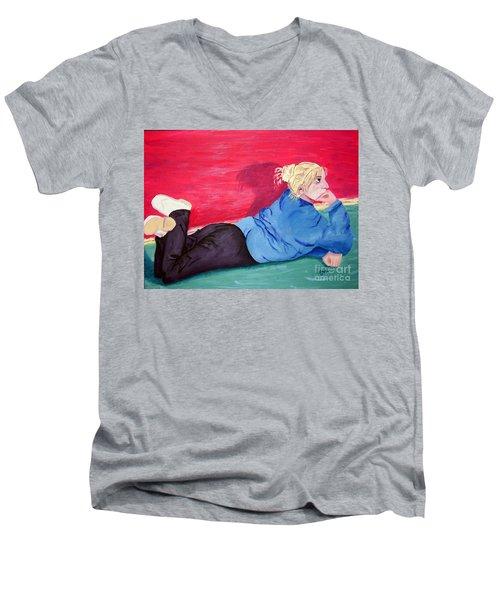 I Wonder? Men's V-Neck T-Shirt by Lisa Rose Musselwhite