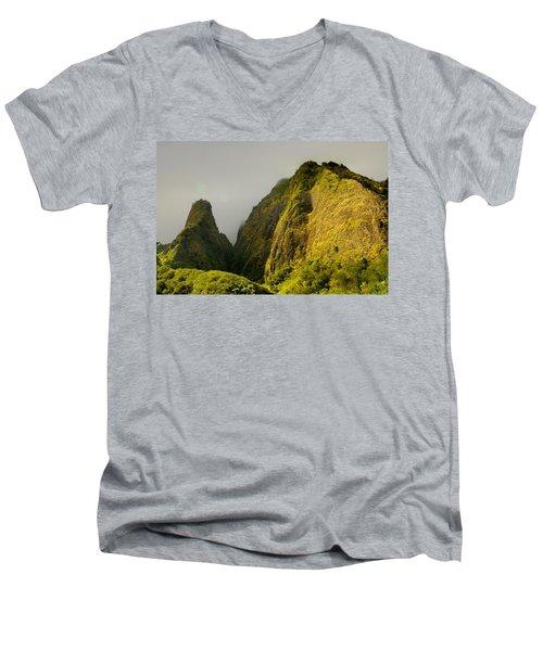 Iao Needle And Mountain Men's V-Neck T-Shirt