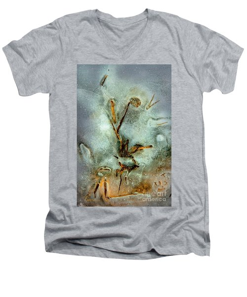 Men's V-Neck T-Shirt featuring the photograph Ice Abstract by Tom Cameron