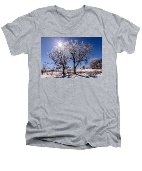 Ice Coated Trees Men's V-Neck T-Shirt by Randy Scherkenbach