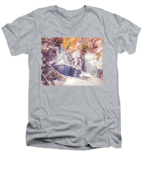 Ice Cold View Of Sages Ravine. Northwest Connecticut Men's V-Neck T-Shirt
