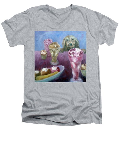 Ice Cream With Dog Men's V-Neck T-Shirt