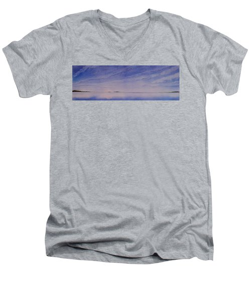 Men's V-Neck T-Shirt featuring the painting Ice Lake by Ruth Kamenev