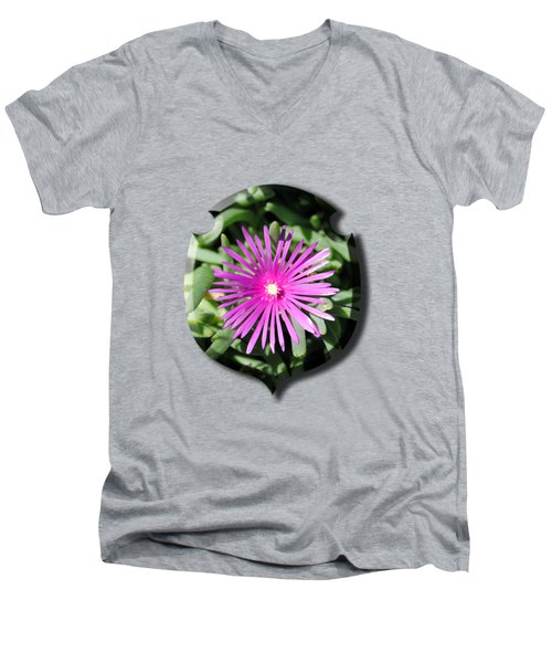 Ice Plant T-shirt Men's V-Neck T-Shirt by Isam Awad