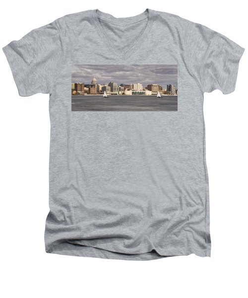 Ice Sailing - Lake Monona - Madison - Wisconsin Men's V-Neck T-Shirt