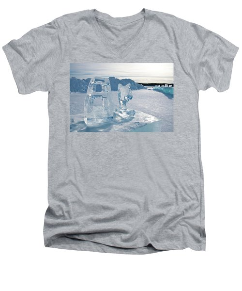 Ice Sculpture Men's V-Neck T-Shirt by Tamara Sushko