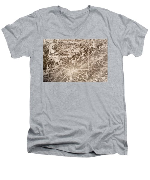 Men's V-Neck T-Shirt featuring the photograph Ice Skating Marks by John Williams