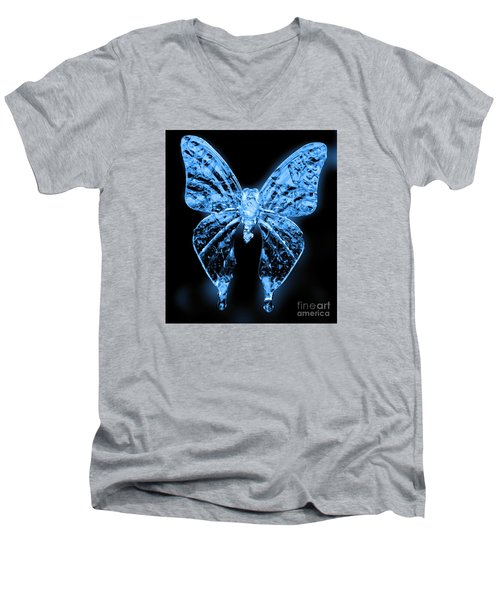 Men's V-Neck T-Shirt featuring the photograph Ice Wing Butterfly by Cassandra Buckley
