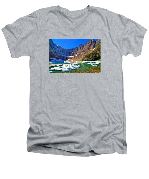Iceberg Lake Men's V-Neck T-Shirt by Greg Norrell