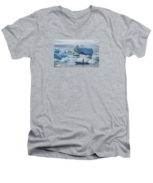 Icebergs On Jokulsarlon Lagoon In Iceland Men's V-Neck T-Shirt by Venetia Featherstone-Witty