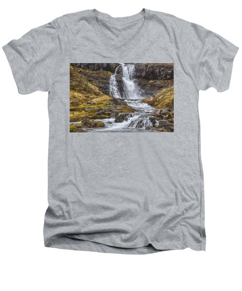 Men's V-Neck T-Shirt featuring the tapestry - textile Iceland Fjord 2 by Kathy Adams Clark