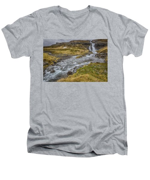 Men's V-Neck T-Shirt featuring the tapestry - textile Iceland Fjord by Kathy Adams Clark