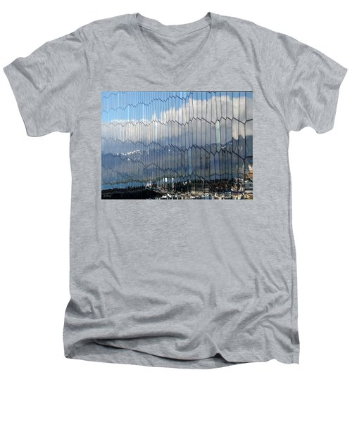 Men's V-Neck T-Shirt featuring the photograph Iceland Harbor And Mountains by Joe Bonita