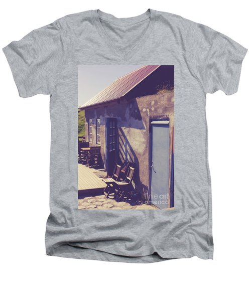 Men's V-Neck T-Shirt featuring the photograph Icelandic Cafe by Edward Fielding