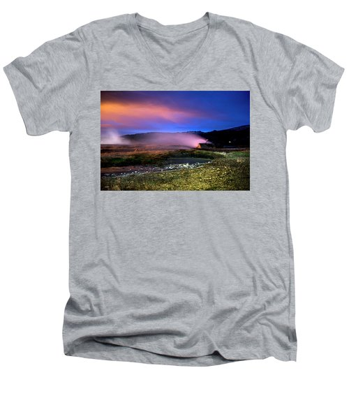 Men's V-Neck T-Shirt featuring the photograph Icelandic Geyser At Night by Dubi Roman