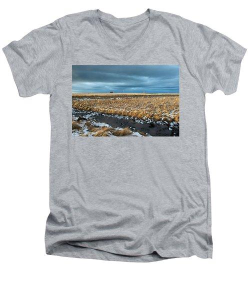 Men's V-Neck T-Shirt featuring the photograph Icelandic Landscape by Dubi Roman