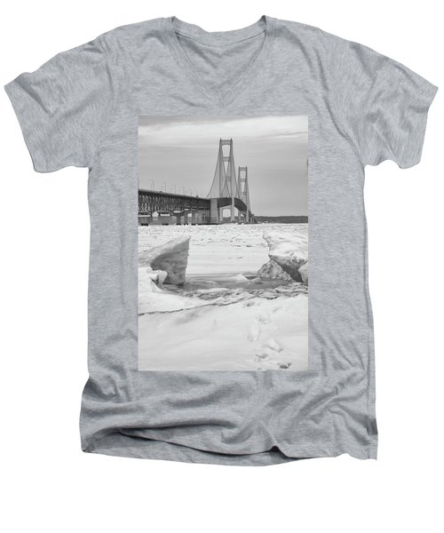 Men's V-Neck T-Shirt featuring the photograph Icy Black And White Mackinac Bridge  by John McGraw