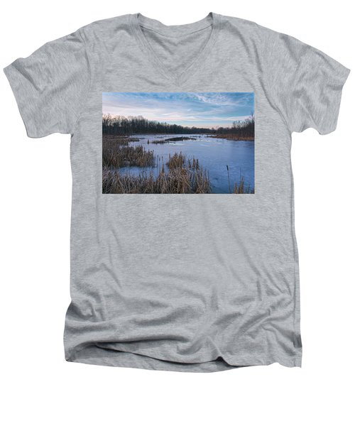Icy Glazed Wetlands Men's V-Neck T-Shirt by Angelo Marcialis