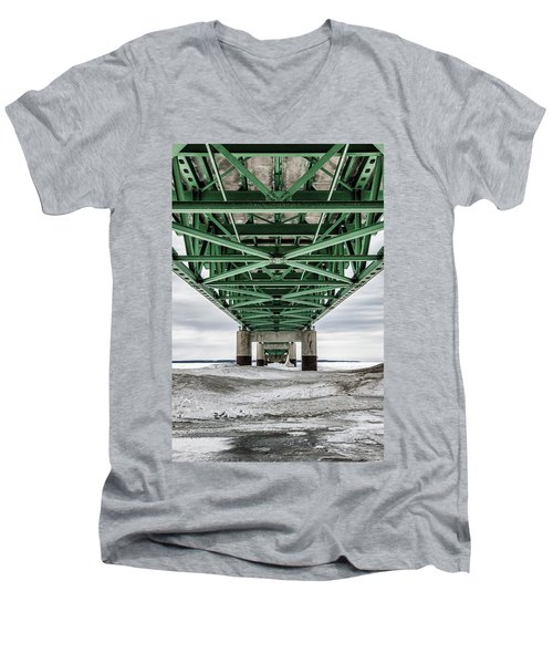 Men's V-Neck T-Shirt featuring the photograph Icy Mackinac Bridge In Winter by John McGraw