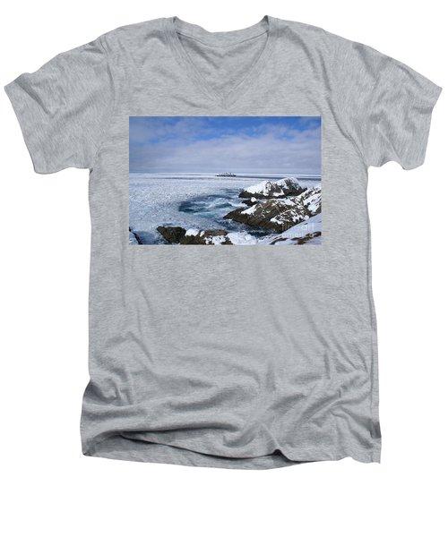 Icy Ocean Slush Men's V-Neck T-Shirt by Annlynn Ward