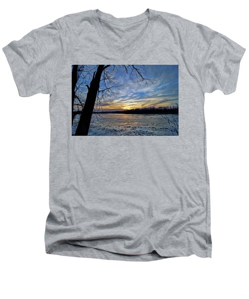 Men's V-Neck T-Shirt featuring the photograph Icy River by Cricket Hackmann