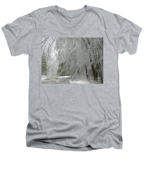 Men's V-Neck T-Shirt featuring the photograph Icy Street Trees by Rockin Docks Deluxephotos