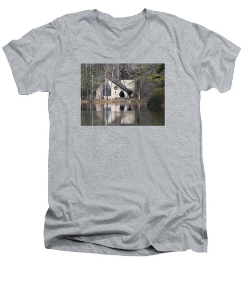 Ida Cason Callaway Memorial Chapel Men's V-Neck T-Shirt by Linda Geiger