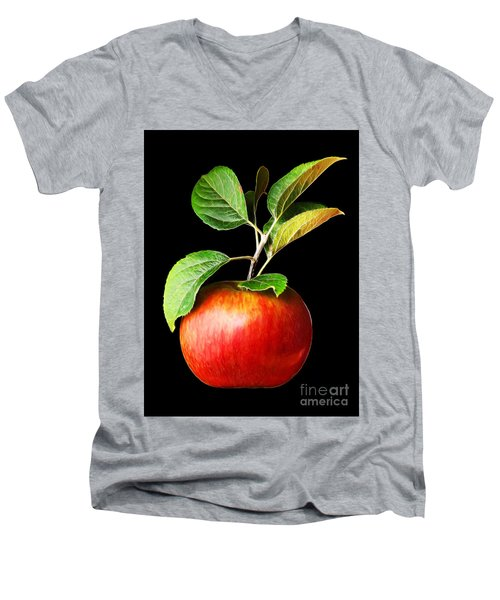 Ida Red Apple And Leaves Men's V-Neck T-Shirt by Wernher Krutein