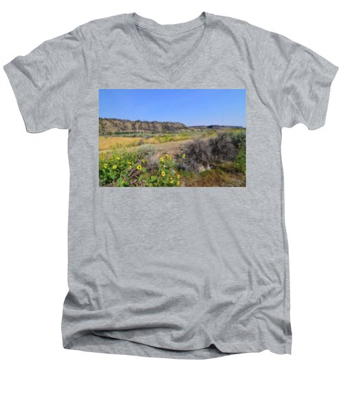 Men's V-Neck T-Shirt featuring the photograph Idaho Landscape by Bonnie Bruno