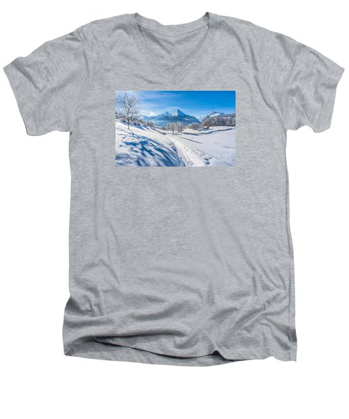 Idyllic Landscape In The Bavarian Alps, Germany Men's V-Neck T-Shirt