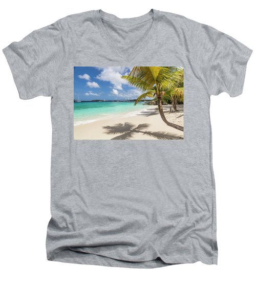 Men's V-Neck T-Shirt featuring the photograph Idyllic Salomon Beach by Adam Romanowicz
