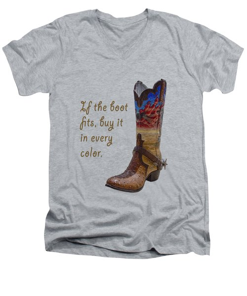If The Boot Fits 2 Men's V-Neck T-Shirt by Priscilla Burgers