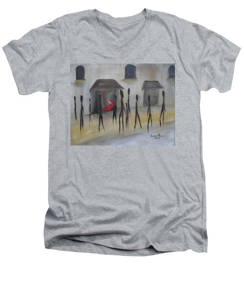 Ignoring The Homeless Men's V-Neck T-Shirt by Judith Rhue