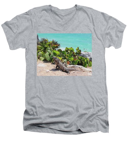 Men's V-Neck T-Shirt featuring the photograph Iguana At Tulum by Roupen  Baker
