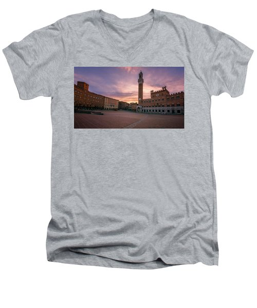 Men's V-Neck T-Shirt featuring the photograph Il Campo Dawn Siena Italy by Joan Carroll
