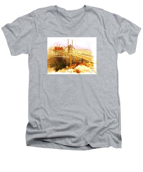 Il Grande Trabucco - Trebuchet Fishing Men's V-Neck T-Shirt by Zedi
