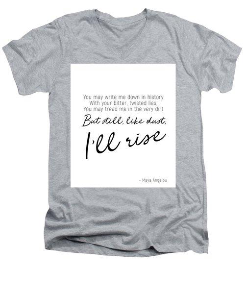 I'll Rise #minimalism Men's V-Neck T-Shirt