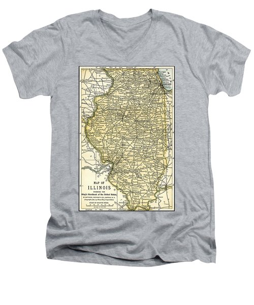 Illinois Antique Map 1891 Men's V-Neck T-Shirt by Phil Cardamone