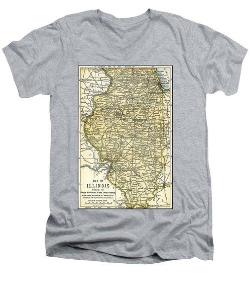 Illinois Antique Map 1891 Men's V-Neck T-Shirt