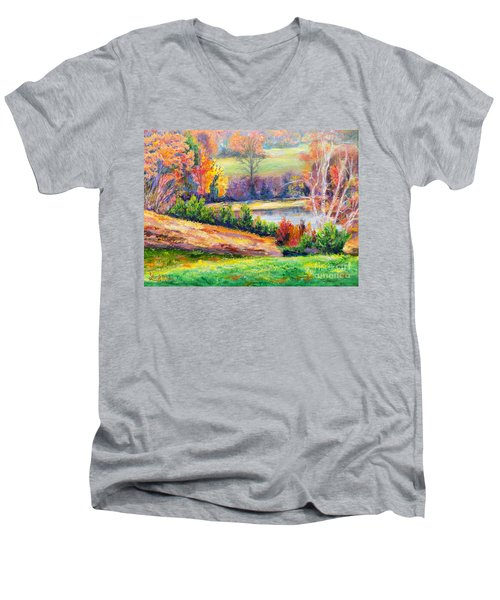 Illuminating Colors Of Fall Men's V-Neck T-Shirt by Lee Nixon