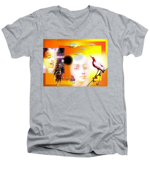 Illusion  Of Reality Men's V-Neck T-Shirt by Hartmut Jager