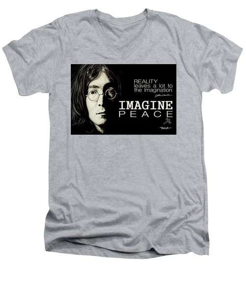 Imagine Peace- John Lennon Men's V-Neck T-Shirt
