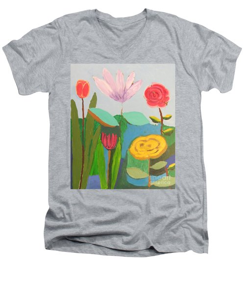 Imagined Flowers One Men's V-Neck T-Shirt by Rod Ismay